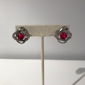 Pink Gem Knotted Earrings